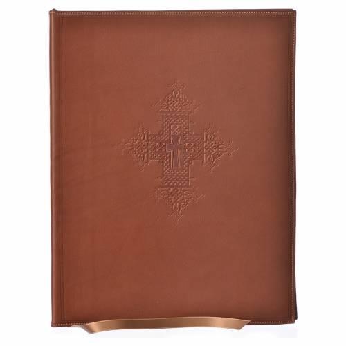 Custodia portariti A4 croce impressa marrone Bethléem s1