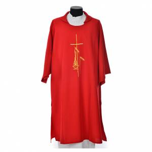 Dalmatic 100% polyester with cross, ear of wheat and flame s4