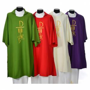 Copes, Roman Chasubles and Dalmatics: Dalmatic with embroidered loaves and fishes 100% polyester