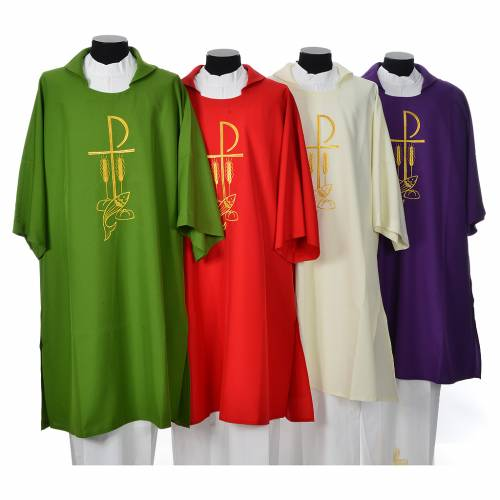 Dalmatic with embroidered loaves and fishes 100% polyester s1
