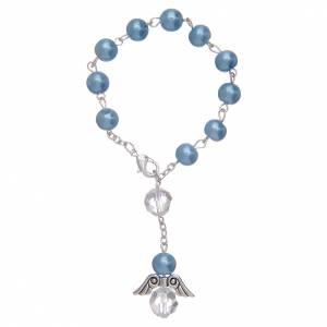 Decade con angioletto in vetro similperla azzurro e cristallo s1