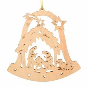 Décorations sapin bois et pvc: Décor de Noel clochette avec Nativité