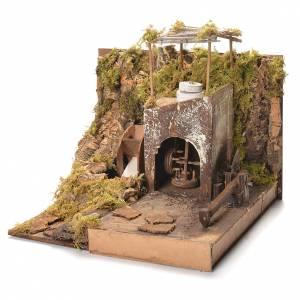 Décor moulin avec engrenages crèche Naples 35x37x35 cm s3