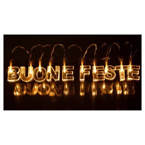 Décoration lumineuse BUONE FESTE leds blanc chaud s2
