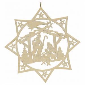 Décorations sapin bois et pvc: Décoration Noël étoile avec nativité