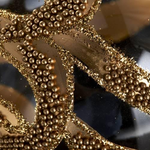 Albero Natale palla vetro dorata glitter 6 cm s3