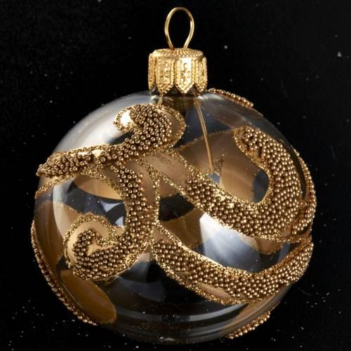 Albero Natale palla vetro dorata glitter 6 cm s2