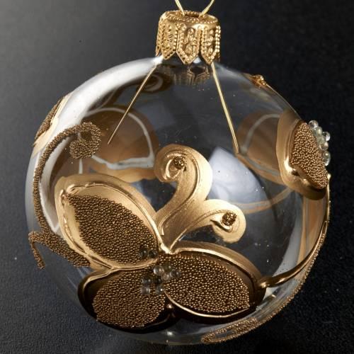 Decoro Albero Natale, palla vetro fiori oro 6 cm s2