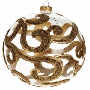 Decoro Albero Natale, palla vetro oro trasparente 15 cm s1