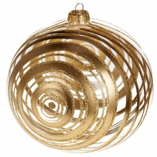 Decoro Albero Natale, palla vetro soffiato decori oro 15 cm s1