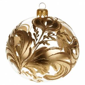 Decoro Albero Natale, palla vetro soffiato dorata 10 cm s1