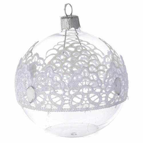 Decoro Natale palla vetro soffiato merletto 80 mm s2