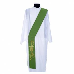Stoles: Diaconal stole in polyester, bi-coloured white, green, Chi-rho w