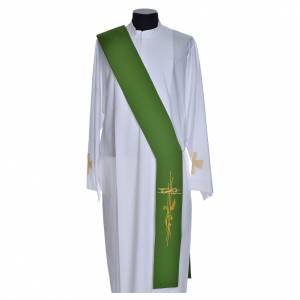 Diaconal stole in polyester with cross and ear of wheat symbols s4