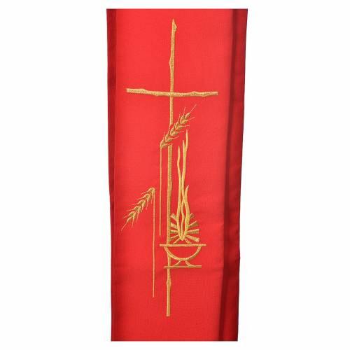 Diakon Stola mit Laterne Kreuz und Weizenähre aus Polyester s2