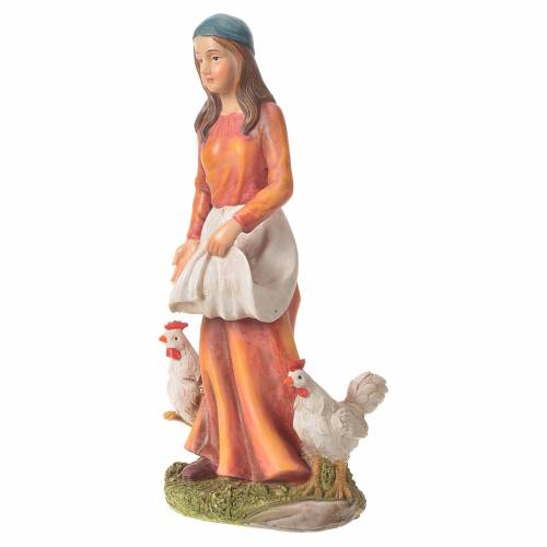 Donna con galline presepe 30 cm resina s5