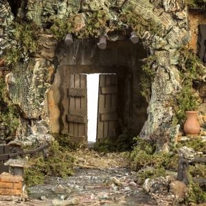 Krippe Hütten und Grotten: Dorf für Krippe mit Hütte und Brunnen 58x48x38 cm