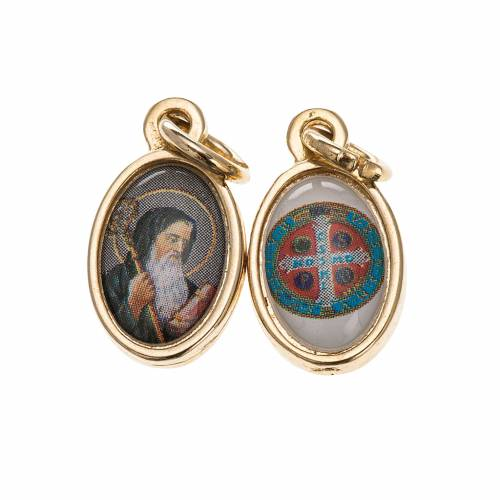 Double medal, Saint Benedict and cross in golden metal and resin s1