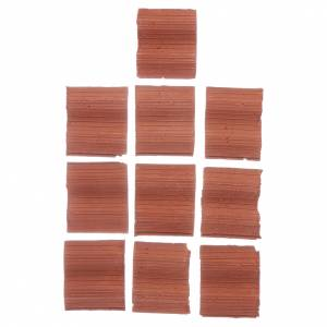 Home accessories miniatures: Double wave shingle in Roman style set of 10 pieces