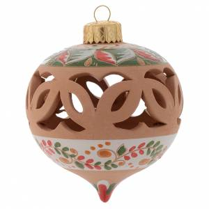 Christmas tree ornaments in wood and pvc: Drilled Christmas ball in terracotta from Deruta 80 cm red