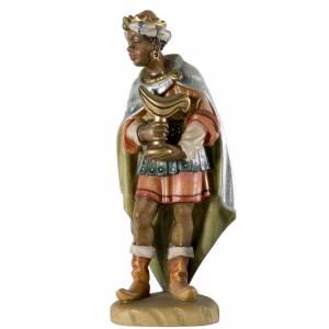 Krippe aus Grödnertal Holz: Dunkelhäutiger König 12cm Holz, Krippe Valgardena