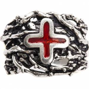 Ecclesiastical Ring made of silver 800 with enamel cross s5