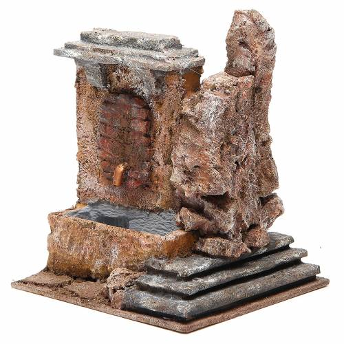Electric fountain in rock for nativity 18x16x16cm s2