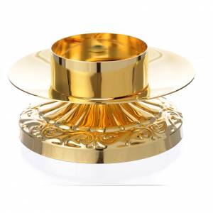 Empire style candle holder in golden brass s1