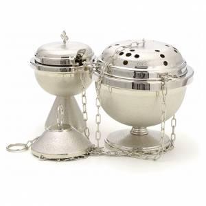 Encensoirs et navettes: Encensoir et navette en laiton nickelé martelé
