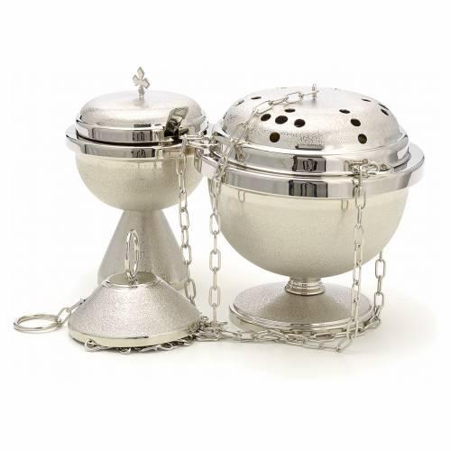 Encensoir et navette en laiton nickelé martelé s2