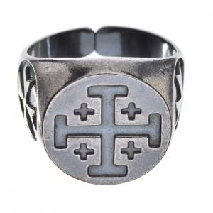 Episcopal ring in burnished 800 silver with Jerusalem cross s1