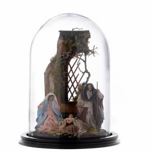Belén napolitano: Escena Natividad cúpula vidrio pesebre napolitano