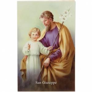 Estampa en italiano S. José con oración s1