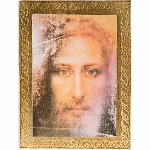 Cuadros, estampas y manuscritos iluminados: Estampa madera Rostro de Jesús con marco dorado