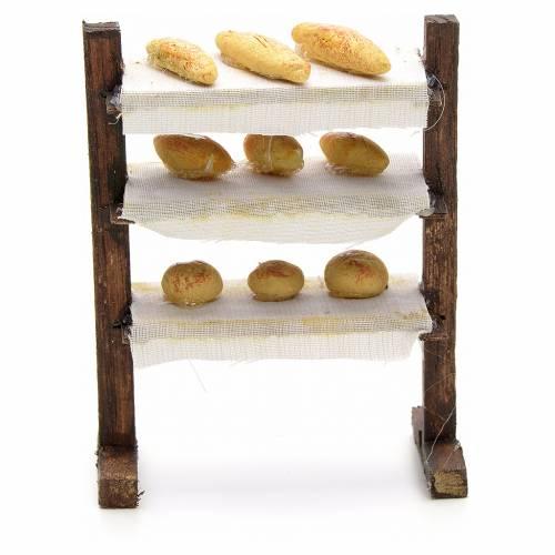 Estante con panes pesebre napolitano cm 8 s1