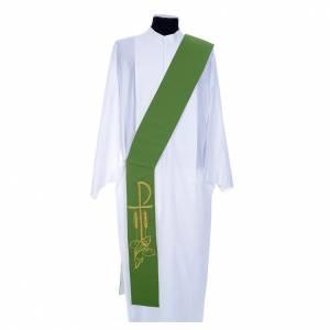 Estolas: Estola diaconal bicolor blanco y verde poliéster XP espig