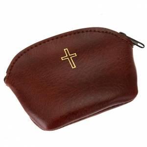Etui chapelet, faux cuire, marron, croix en or s4