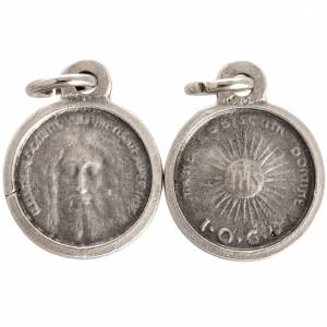 Face of Christ round medal in silver metal 16mm s1