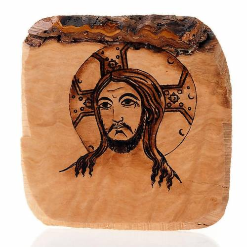 Face of Jesus panel in olive wood, Azur 1