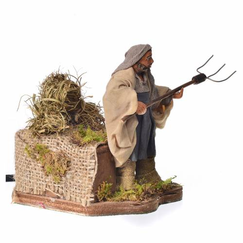 Farmer with hay, animated Neapolitan nativity, 10cm s2