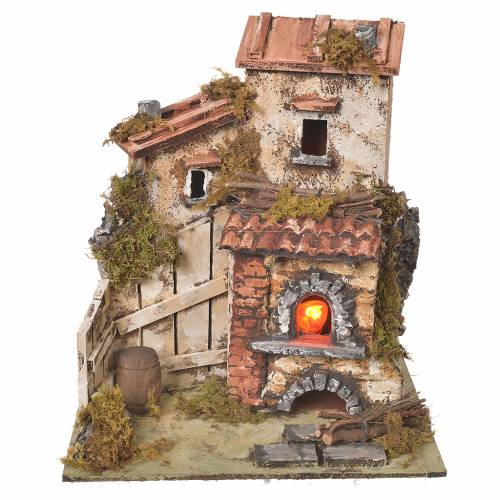 Farmhouse with flame effect oven for nativities 25.5x24x21cm s1