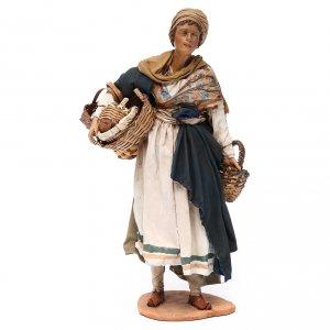 Femme avec panier terre cuite crèche Angela Tripi 30 cm s1