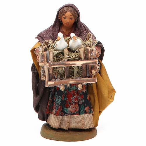 Femme cage 2 oies en main 10 cm crèche Naples s1