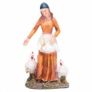 Santons crèche: Femme qui nourrit les poules 21 cm crèche résine