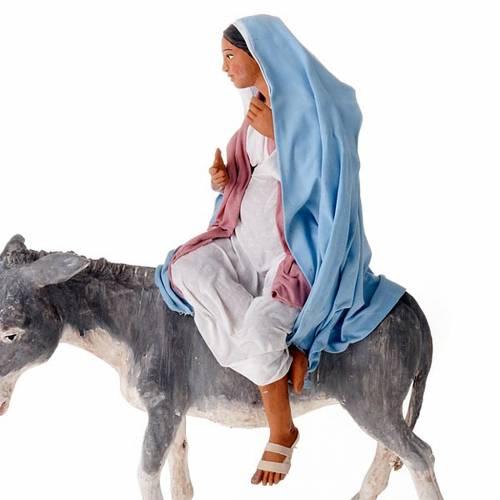 Joseph et Marie en attente sur ânon 30 cm s6