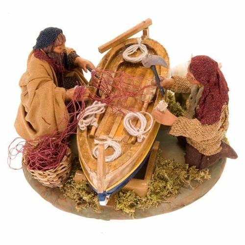 Fishermen with boat for nativity scene 10 cm 5