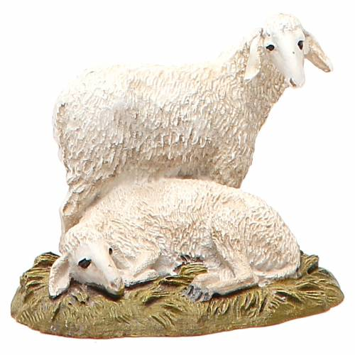 Flock of 2 sheep in painted resin, 10cm Martino Landi Nativity s1