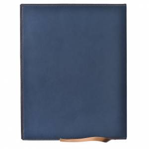 Folder for sacred rites in bleu leather, hot pressed lamb Bethleem, A4 size s2