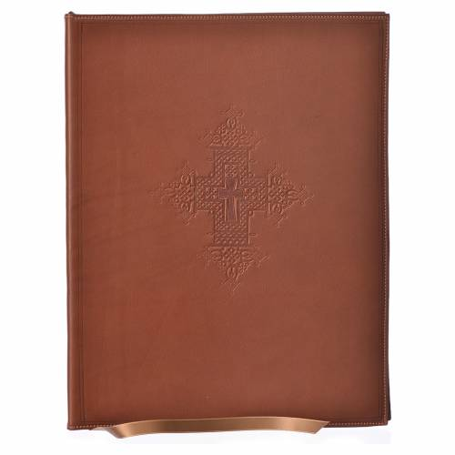Folder for sacred rites in brown leather, hot pressed cross Bethleem, A4 size s1