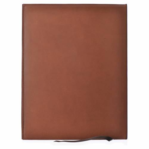 Folder for sacred rites in brown leather, hot pressed golden lamb Bethleem, A4 size s2